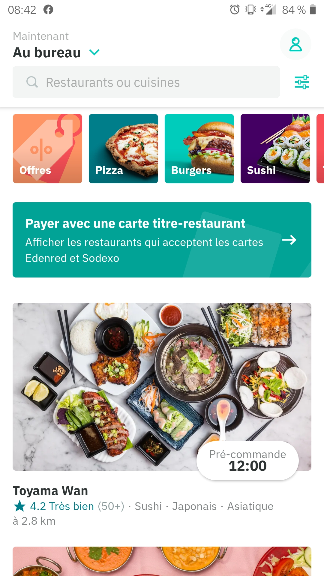 Screenshot appli Deliveroo Sodexo Pass Restaurant